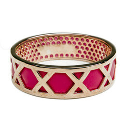 Carly Paiker Criss Cross Pink Leather Bangle
