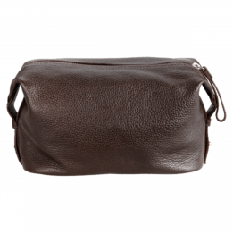 Dapper Genuine Leather Toiletry Bag - Dark Brown