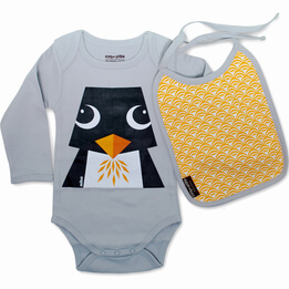 Penguin 100% Cotton Bodysuit & Bib
