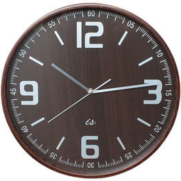 Wall Clock with Dark Wood Face & Case
