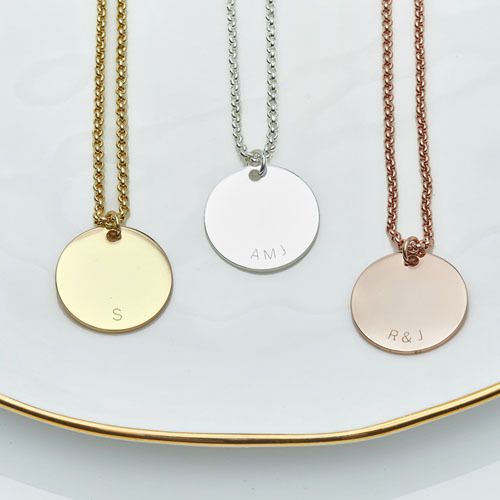 Personalised Initial Curve Charm Necklace in Gold