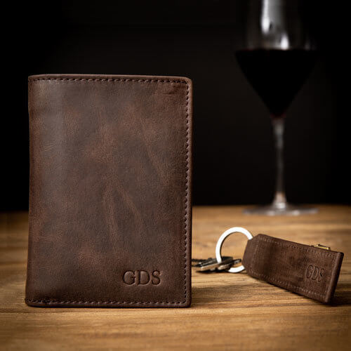 Mens Personalised Portrait Leather Wallet & Keyring