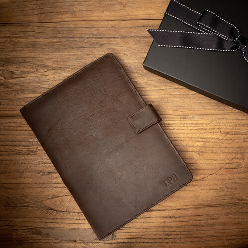 Mens Personalised Oxford A5 Leather Folio Case