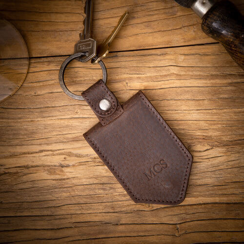 Mens Personalised Leather Photo Keyring