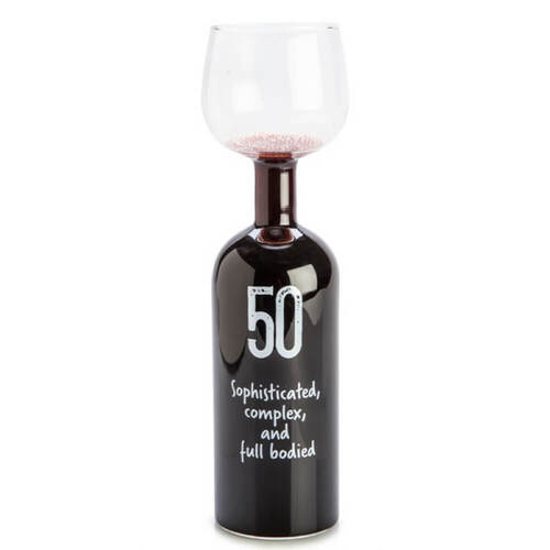 50th Birthday Wine Bottle Glass