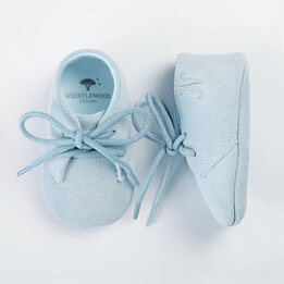 Personalised Blue Suede Baby Shoes in Gift Box