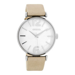 OOZOO Silver on White Pearl Sand Watch