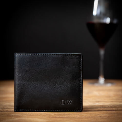 Personalised Black Leather Billfold Wallet