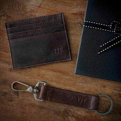 Personalised Brown Leather Card Holder & Keyring Set