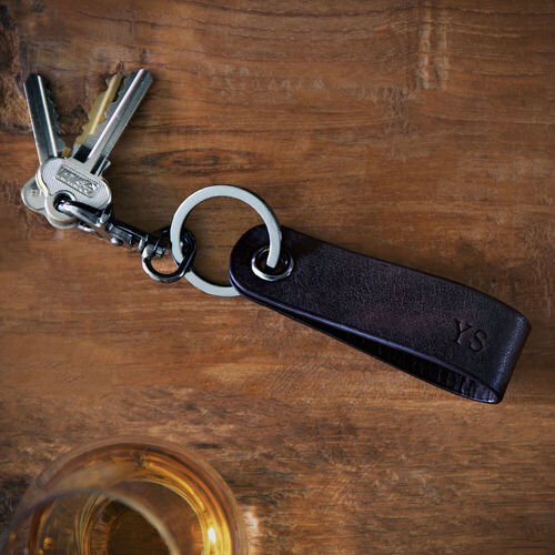 Personalised Brown Leather Terrain Clip Keyring