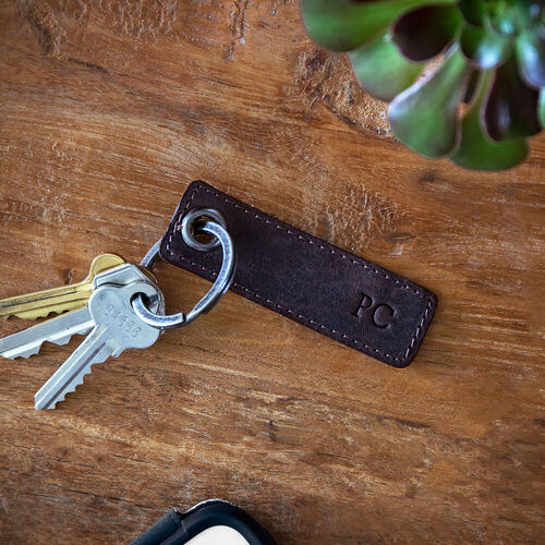 Personalised Brown Rectangular Leather Keyring
