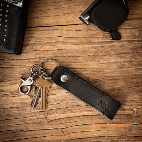 Personalised Black Clip Leather Keyring