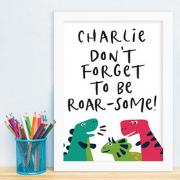 Dino Personalised Name Framed Print