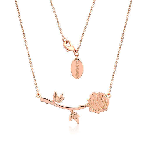 Beauty & The Beast Rose Necklace By Disney Couture