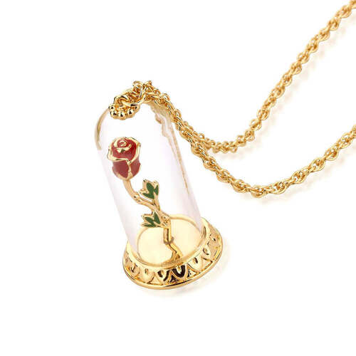 Beauty & The Beast Enchanted Rose Necklace By Disney Couture