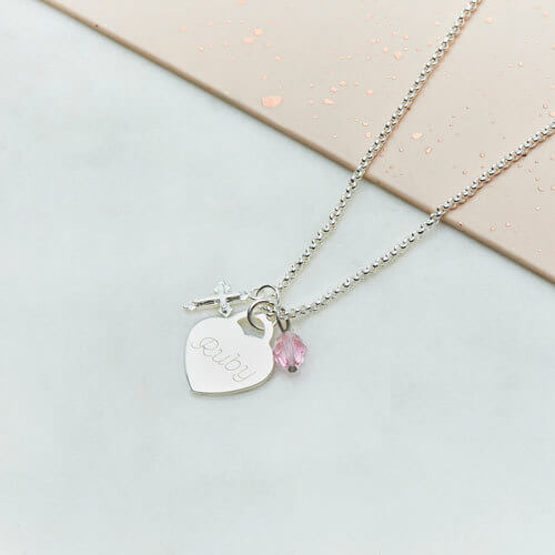Kid's Personalised Heart Charm Necklace