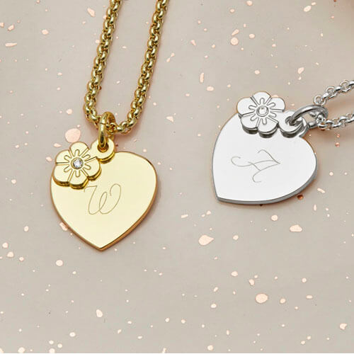 Kids Personalised Floral Heart Charm Necklace