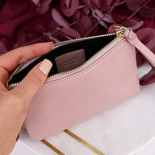 Personalised Blush Leather Cosmetic Pouch