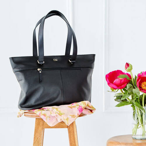 Personalised Black Saffiano Leather Tote Bag