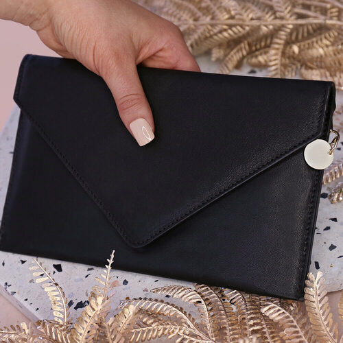 Harper Leather Envelope Clutch Black