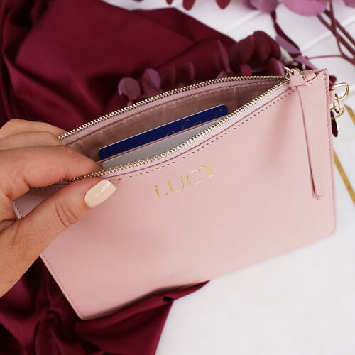 Personalised Blush Leather Pouch