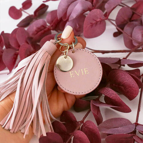 Personalised Women's Blush Leather Tassel Keyring