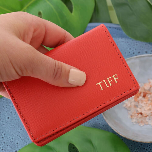 Personalised Blood Orange Saffiano Leather Card Holder