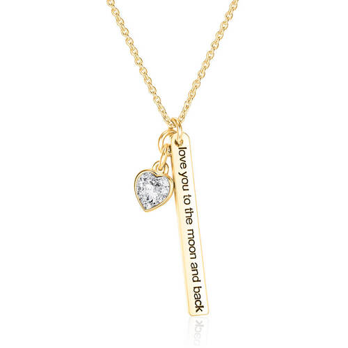 Gold Love to the Moon Necklace with Crystals From Swarovski®