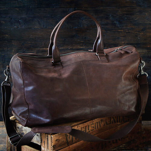 Men's Leather Overnight Bag with Personalised Monogram