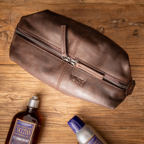 Brown Leather Toiletries Bag with Personalised Monogram