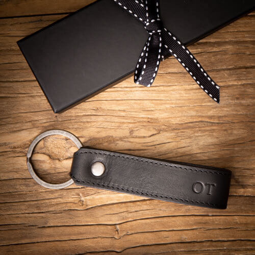 Black Leather Key Ring with Personalised Monogram