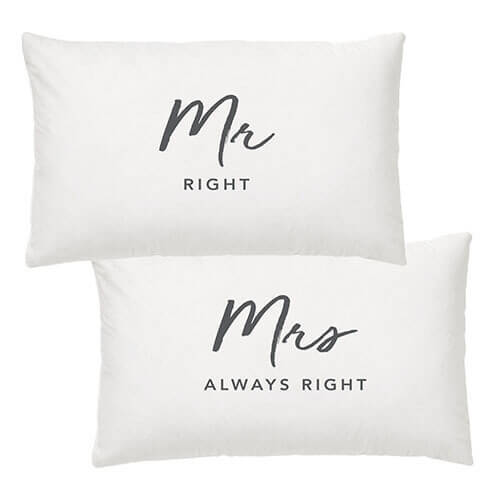 Mr & Mrs Right Pillow Case Set
