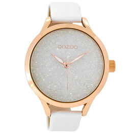 OOZOO White Glitter with Rose Gold Watch