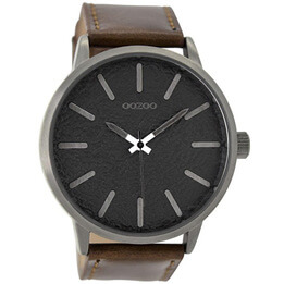 OOZOO Textured Black on Dark Brown Watch