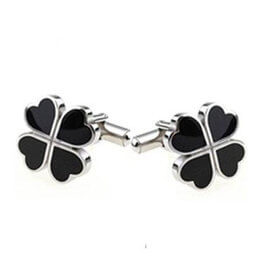 Black and Silver Clover Cufflinks