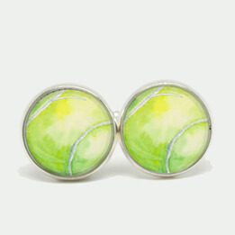 Tennis Ball Cufflinks Silver