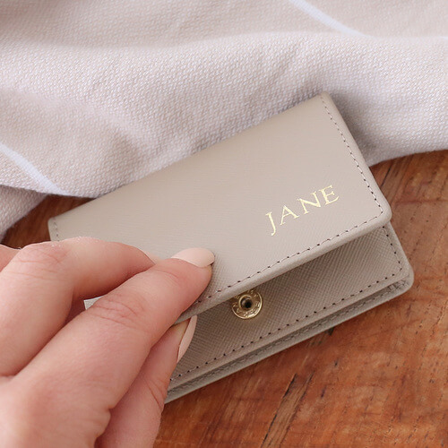 Taupe Leather Card Holder with Personalised Monogram