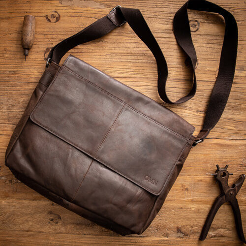 'East West' Leather Messenger Bag with Custom Monogram