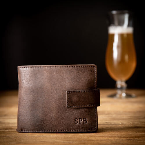 Brown Leather Wallet with Monogram